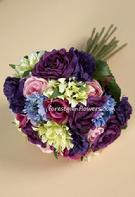Silk Flower Wedding Bouquet with roses, lisianthus, carnations.www.forestglenflowers.com