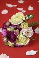 RANUNCULUS BOUQUET PURPLE GREEN SILK FLOWER WEDDING BOUQUET . WWW.FORESTGLENFLOWERS.COM