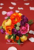 "ARTIFICIAL SILK FLOWER WEDDING BRIDAL BOUQUET WITH ORANGE AND PURPLE RANUNCULUS 9"" TALL. WWW.FORESTGLENFLOWERS.COM"
