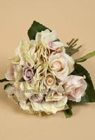 ROSES AND HYDRANGEA PALE PINK BOUQUET SILK FLOWER WEDDING BOUQUET.  WWW.FORESTGLENFLOWERS.COM