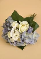 Silk Flower Wedding Bouquet with cream roses and blue hydrangea