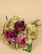 Hydrangea with Pink fushia roses make up with beautiful silk flower wedding bouquet. www.forestglenflowers.com