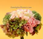 Stunning all silk wedding bouquet with shades of pink roses, green hydrangea and sedum. www.forestglenflowers.com