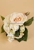 Silk flowers wedding bridal bouquet pink and cream colored roses and hydrangea. www.forestglenflowers.com