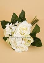 Pretty cream colored silk bridal bouquet flowers roses and hydrangea. www.forestglenflowers.com