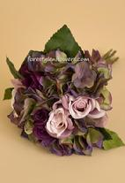 SILK ARTIFICIAL WEDDING BRIDAL BOUQUET WITH ROSES AND PURPLE GREEN HYDRANGEAS. WWW.FORESTGLENFLOWERS.COM